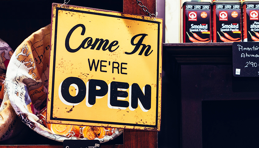 """""""Come in, we're open"""" business sign"""