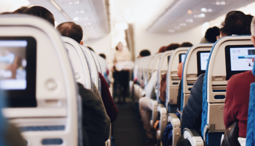 Airplane aisle during flight