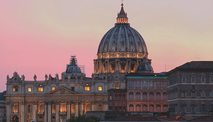 Vatican Saint Peter's Basilica at dusk