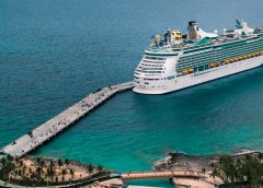 People boarding a cruise ship