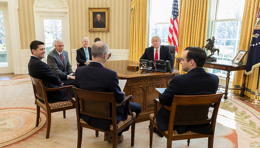 President Donald Trump meets with (from left) U.S. Secretary of Health and Human Services Tom Price; Vice President Mike Pence; Speaker of the House Paul Ryan; Dr. Zeke Emanuel; and Andrew Bremberg, Dir. Domestic Policy Council, Monday, March 20, 2017, in the Oval Office. (Official White House Photo by Benjamin Applebaum)