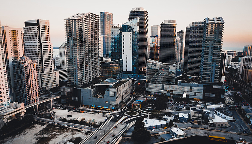 Aerial shot of downtown Miami, Florida