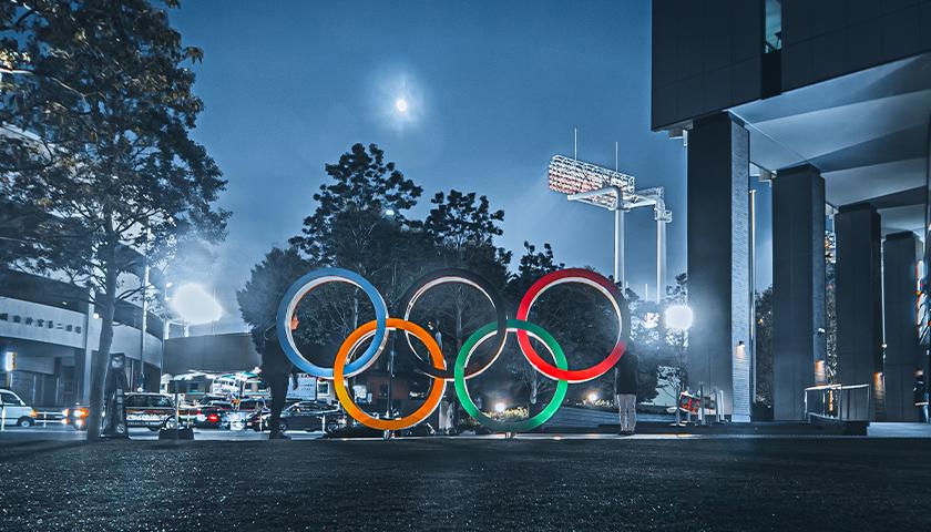 Olympics ring logo in dark in Tokyo