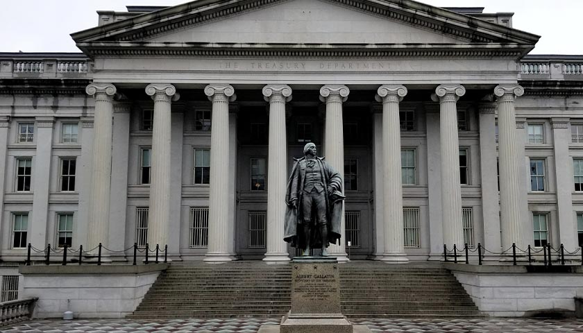 A view of the North entrance of the U.S. Treasury Building in Washington D.C.