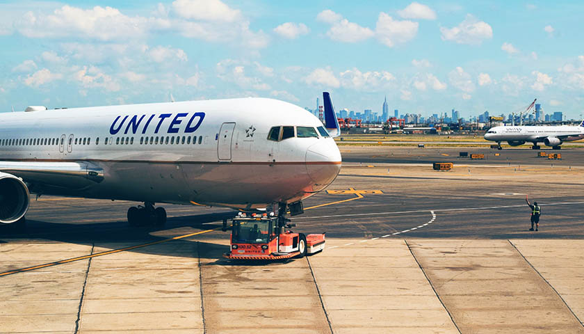 United Airlines plane on runway
