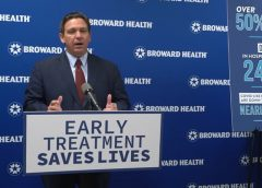 Gov. Ron DeSantis speaking at a conference on the COVID-19 antibody treatments
